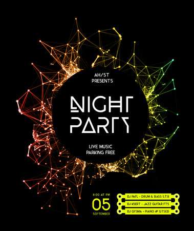 dj: Night Disco Party Poster Background Template - Vector Illustration