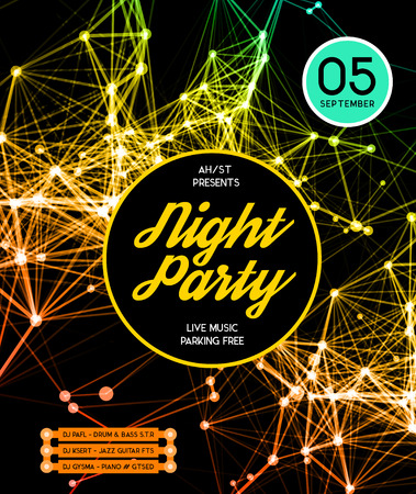 abstract music: Night Disco Party Poster Background Template - Vector Illustration