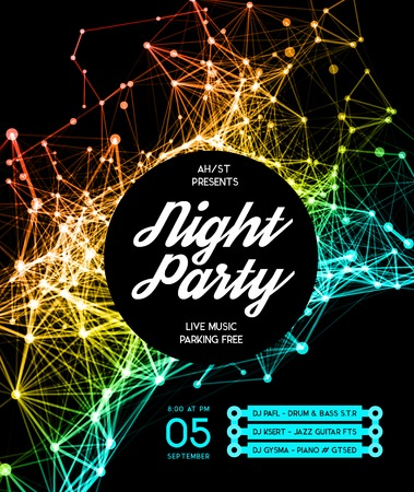glow: Night Disco Party Poster Background Template - Vector Illustration