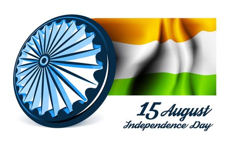 26: Indian Independence Day vector background with 3D Ashoka wheel and flag