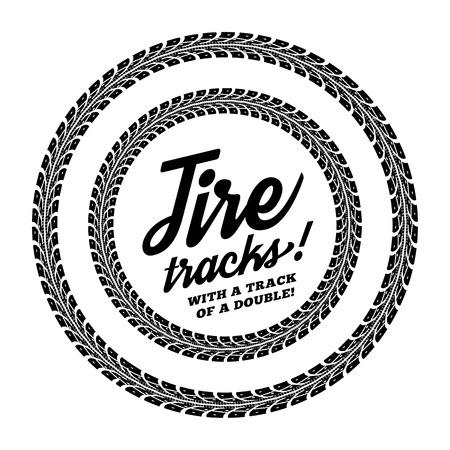 huellas de llantas: Huellas de neumáticos. Ilustración vectorial sobre fondo blanco