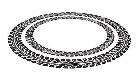 pisar: Huellas de neumáticos. Ilustración vectorial sobre fondo blanco