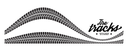 Tire tracks. Vector illustration on white background  イラスト・ベクター素材
