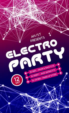 Notte Disco Party Poster Background Template - illustrazione vettoriale Archivio Fotografico - 43960448