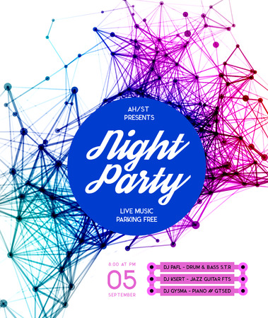 disco backdrop: Night Disco Party Poster Background Template - Vector Illustration