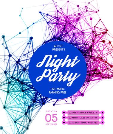 fiesta dj: Noche Disco Party Plantilla del cartel de fondo - ilustración vectorial