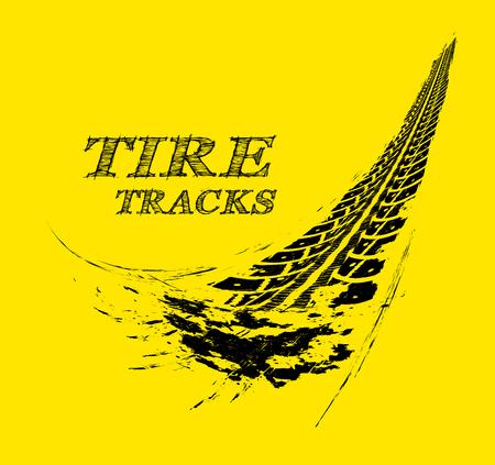 huellas de llantas: Pistas del neumático. Ilustración vectorial sobre fondo amarillo