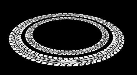 tire cover: Tire tracks. Vector illustration on black background