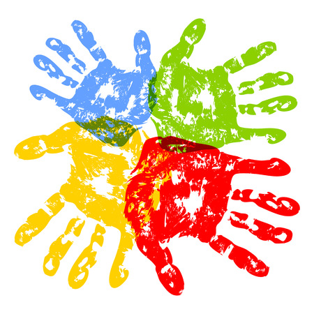 kids painted hands: Abstract background, prints of hands of the child, vector illustration