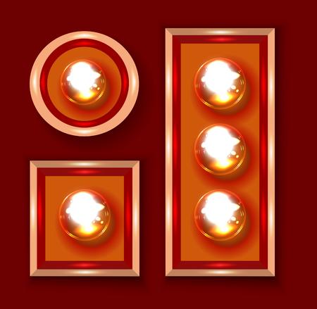 bombilla: Luces de marquesina de cerca ilustración vectorial sobre fondo rojo oscuro Vectores