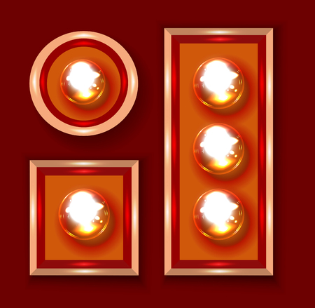 bright light: Marquee lights close-up vector illustration on dark red background