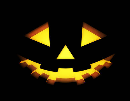 face close up: Halloween background with pumpkins lantern. Vector illustration