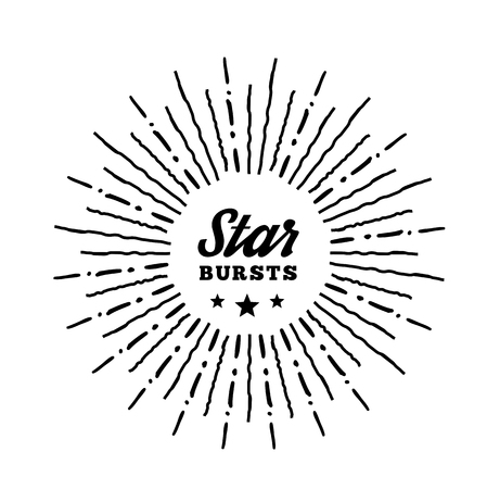 sun rays: Hipster style vintage star burst with ray. Vector illustration with hand drawn elements