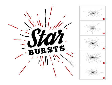 graphic art: Hipster style vintage star burst with ray. Vector set illustration with hand drawn elements