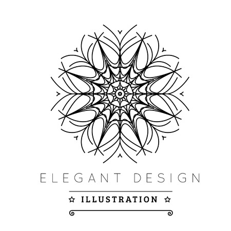 line art: Logo template. Black and white design. Outline style. Conceptual minimal icon. Use for card, poster, brochure, banner, web. Easy to edit. Vector illustration - EPS10