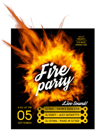 dj: Fire party poster template. Vector illustration with a circle of fire