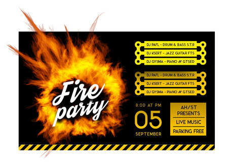 bbq: Fire party poster template. Vector illustration with a circle of fire