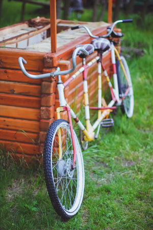tandem bicycle: Bicycles for two passengers, the tandem on the green grass
