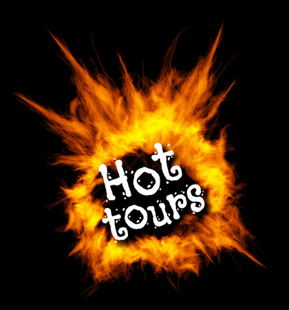 hot tour: Hot tours concept illustration with fire on black background