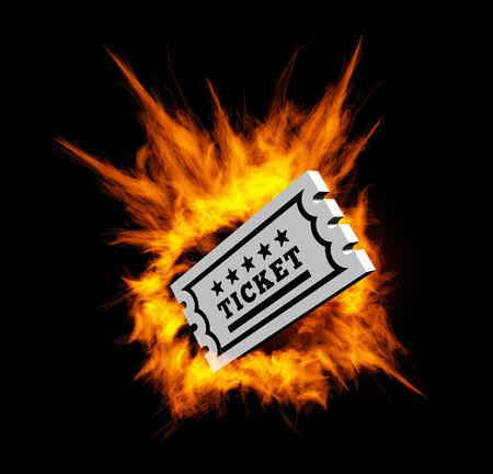 Burning ticket illustration with fire on a black background Illustration