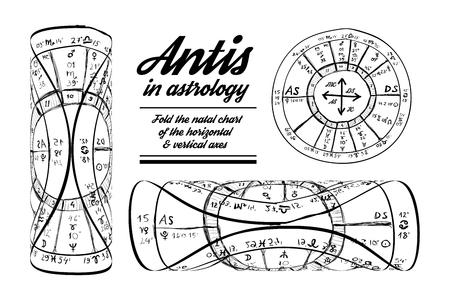 astrology: Antis in astrology hand-drawn illustration on white background Illustration