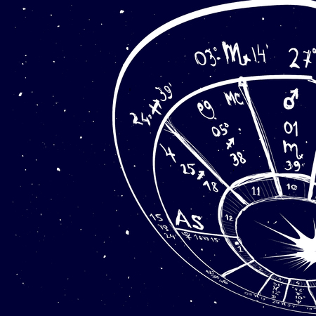 astrology: Astrology background - Example of the natal chart the planets in the houses and aspects between them