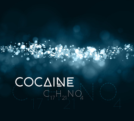 powder: Cocaine powder with the chemical formula Illustration