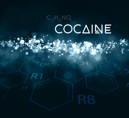 heroin: Cocaine powder with the chemical formula Illustration