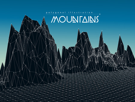 Low-poly geometric 3D mountain landscape Stock Illustratie