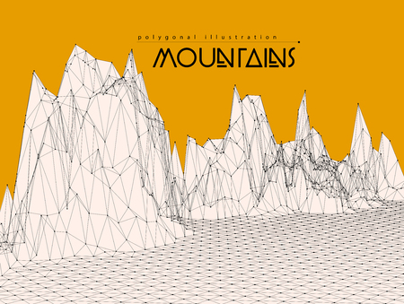 montane: Wireframe mesh polygonal surface. Mountains with connected lines and dots