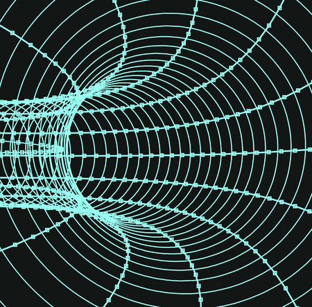 hadron: 3d abstract tunnel or tube illustration on dark background
