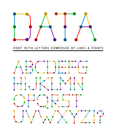 connects: Font with letters composed of lines and points. Vector illustration Illustration