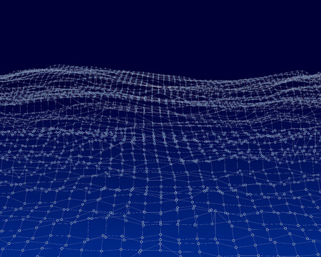 net: Water Surface. Wavy Grid Background. 3d Abstract Vector Illustration.