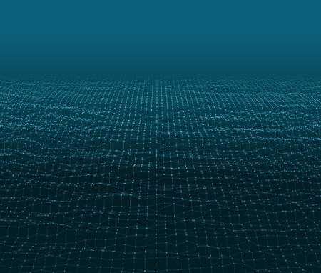 Water Surface. Wavy Grid Background. 3d Abstract Vector Illustration.