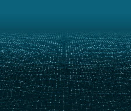 Wasseroberfläche. Wellenförmige Gitter Hintergrund. 3d Zusammenfassung Vektor-Illustration. Illustration