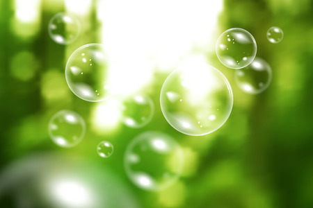 day light: Blurred natural vector background with soap bubbles Illustration