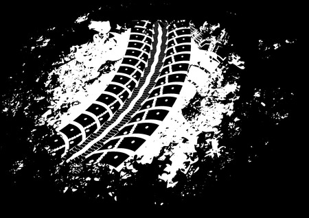 skid marks: Tire track vector background in black and white style