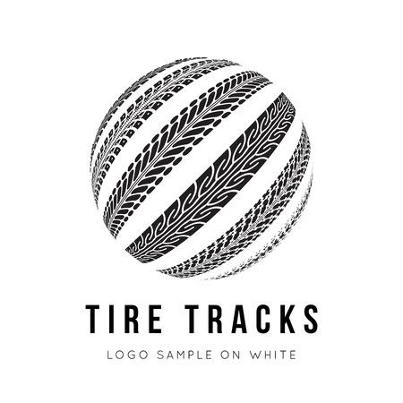 pisar: Neumático de fondo trayectoria vector en estilo blanco y negro Vectores