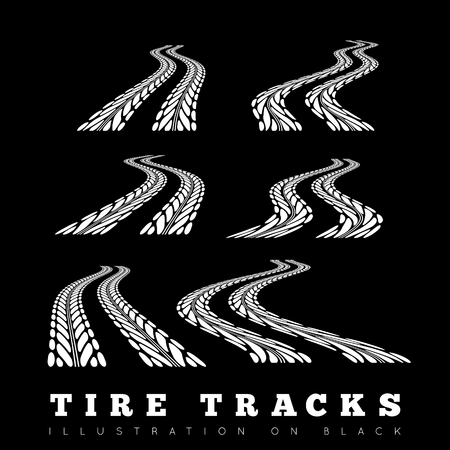 skidding: Tire track vector background in black and white style