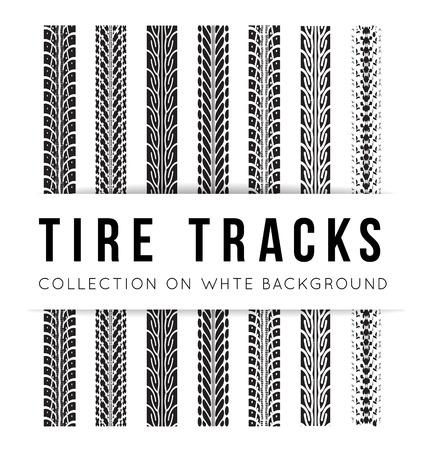 huellas de llantas: Neumático de fondo trayectoria vector en estilo blanco y negro Vectores