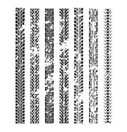 tyre tread: Tire track vector background in black and white style