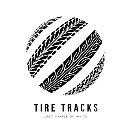 motorbike race: Tire track vector background in black and white style