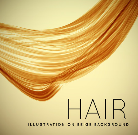 Closeup of long human hair with tilt shift effects. Vector illustraion on beige background Çizim