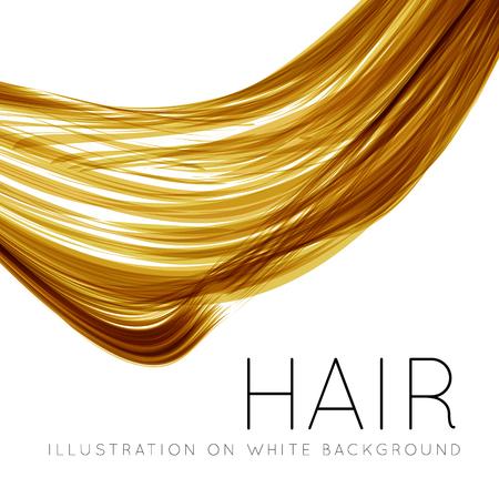 pelo largo: Primer plano de cabello humano largo con efectos de cambio de inclinación. illustraion del vector en el fondo blanco