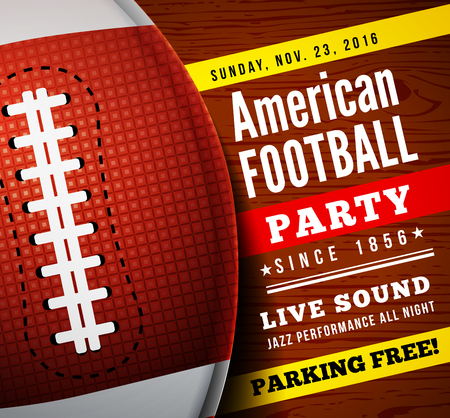 flyer party: American football party. Vector background with ball on wooden floor Illustration