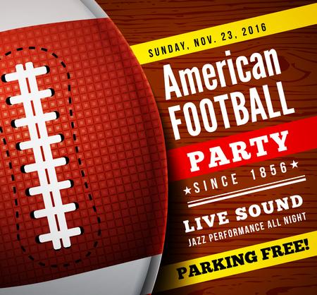 bannière football: fête du football américain. Vecteur de fond avec la boule sur le plancher en bois