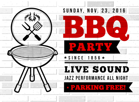 barbecue grill: Barbecue grill party. Vector illustration on on a brick background