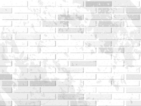 white wall: White brick wall. Vector illustration with noise textures