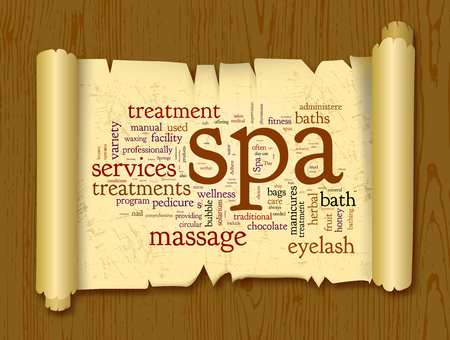 spa collage: Spa word cloud vector illustration on a scroll of paper