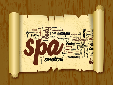 Spa word cloud vector illustration on a scroll of paper
